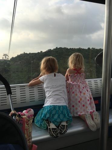 Chatting on the gondola.